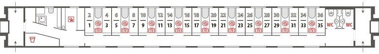 Схема купейного вагона фирменного поезда «Эльбрус»