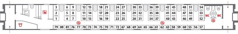 Схема общего вагона фирменного поезда «Гилюй»