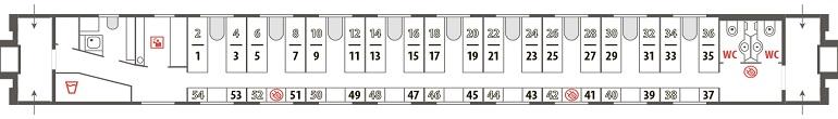 Схема плацкартного вагона фирменного поезда «Лотос»