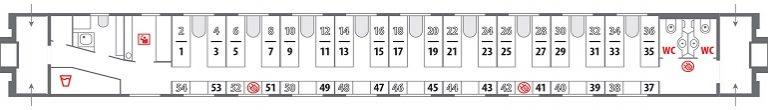 Схема плацкартного вагона фирменного поезда «Янтарь»