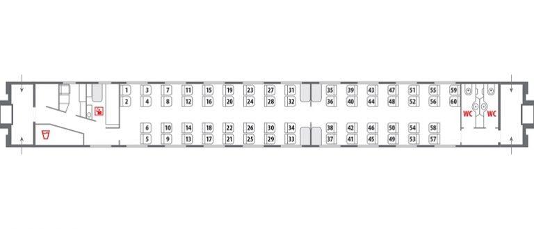 Схема расположения мест в сидячем вагоне РЖД