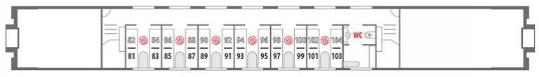 Схема штабного вагона 2 этаж фирменного поезда «Северная Пальмира»