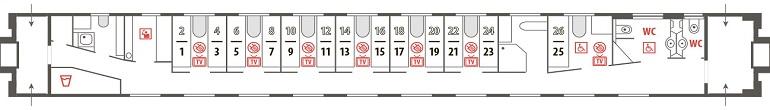 Схема штабного вагона фирменного поезда «Новокузнецк»