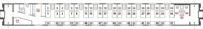 Схема штабного вагона фирменного поезда «Псков»