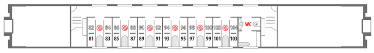 Схема штабного вагона «Смена – А. Бетанкур» 2 этаж