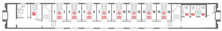 Схема спального вагона (СВ) «Смена – А. Бетанкур» - 1 этаж