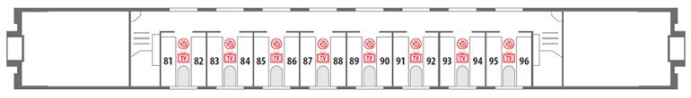 Схема спального вагона (СВ) «Смена – А. Бетанкур» - 2 этаж