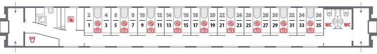 Схема стандартного купе фирменного поезда «Янтарь»