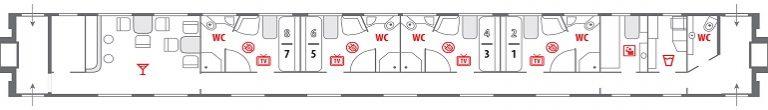 Схема вагона класса «Люкс» фирменного поезда «Лев Толстой»