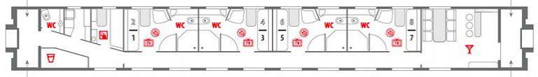 Схема вагона «Люкс» фирменного поезда «Красная стрела»