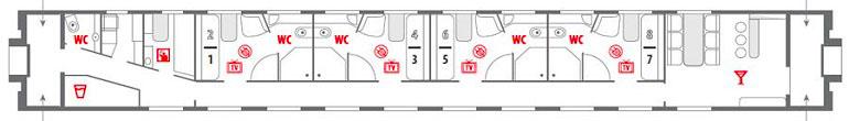 Схема вагона «Люкс» фирменного поезда «Океан»