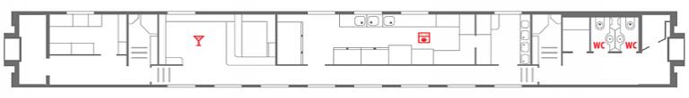 Схема вагона-ресторана 1 этаж фирменного поезда «Северная Пальмира»