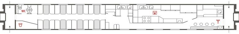 Схема вагона-ресторана фирменного поезда «Кама»