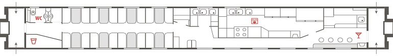 Схема вагона-ресторана фирменного поезда «Лотос»