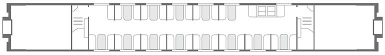 Схема вагона-ресторана «Смена – А. Бетанкур» 2 этаж