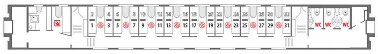 Схема вагона стандартного купе 1 этаж фирменного поезда «Северная Пальмира»