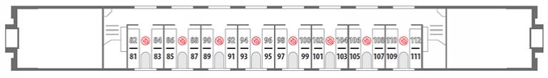 Схема вагона стандартного купе 2 этаж фирменного поезда «Северная Пальмира»
