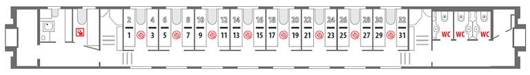 Схема вагона стандартного купе «Смена – А. Бетанкур» 1 этаж