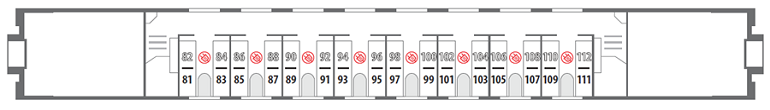 Схема вагона стандартного купе «Смена – А. Бетанкур» 2 этаж