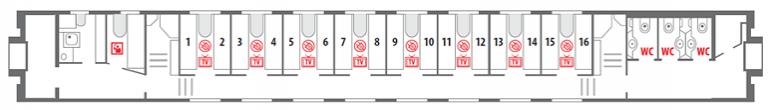 Схема вагона СВ 1 этаж фирменного поезда «Северная Пальмира»