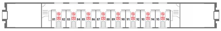 Схема вагона СВ 2 этаж фирменного поезда «Северная Пальмира»